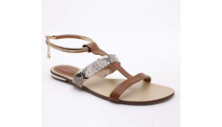 Sandales aspect serpent marron à bracelet doré