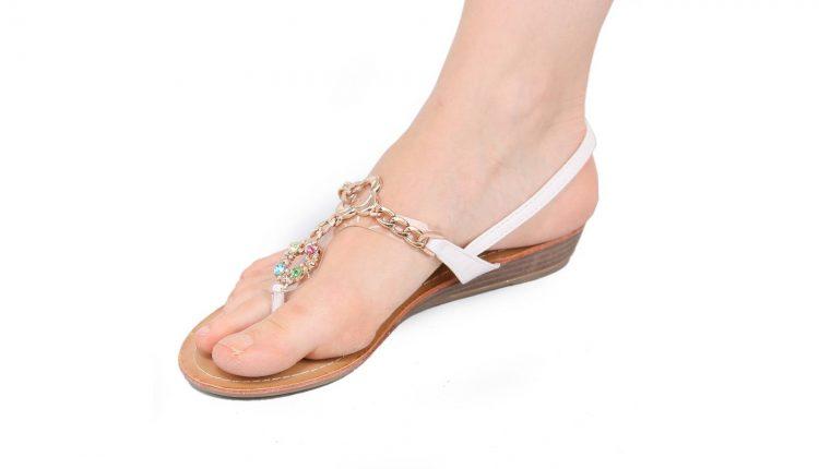 Sandales femme compensées blanches à strass
